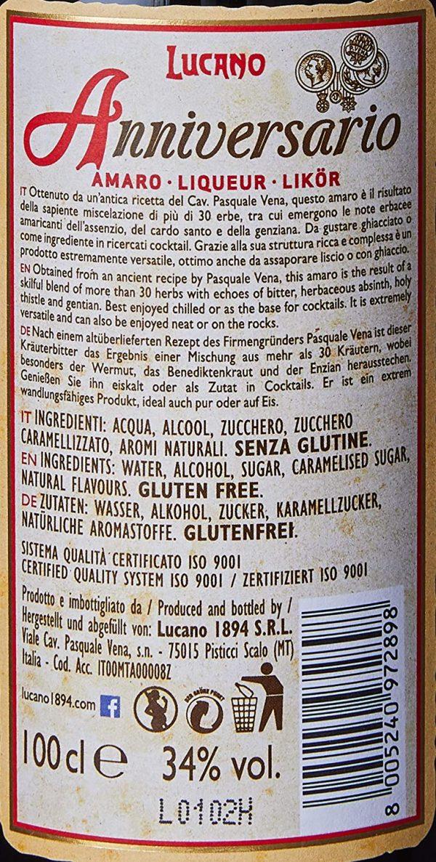 Amaro lucano anniversario 100 cl