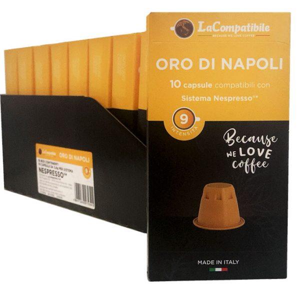 Capsule Caffè Lacompatibile Miscela Oro di Napoli Compatibili Nespresso pz 10